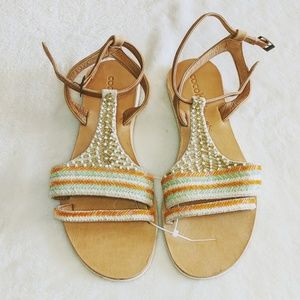 NWOB Cocobelle Leather Beaded Sandal 7.5